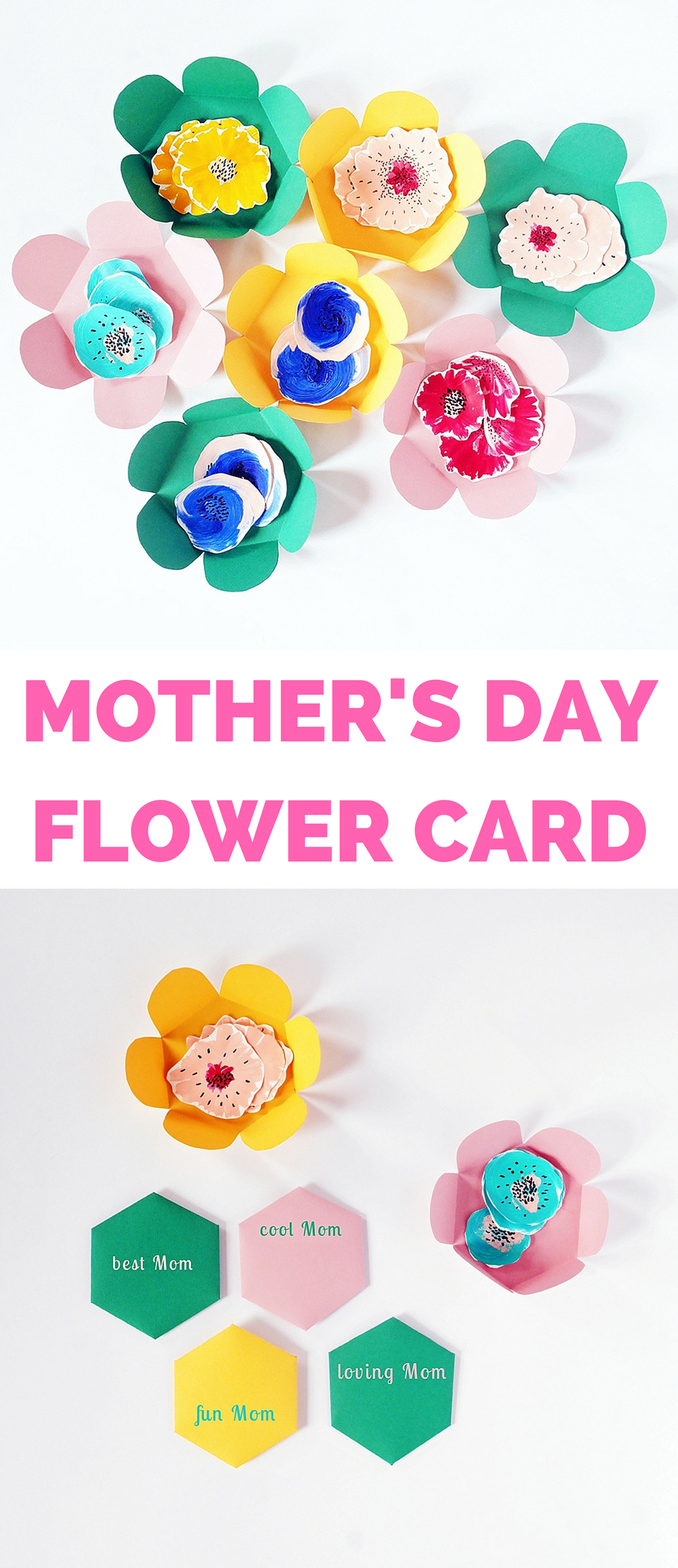 Diy Mothers Day Paper Flower Card Arts And Crafts Pinterest