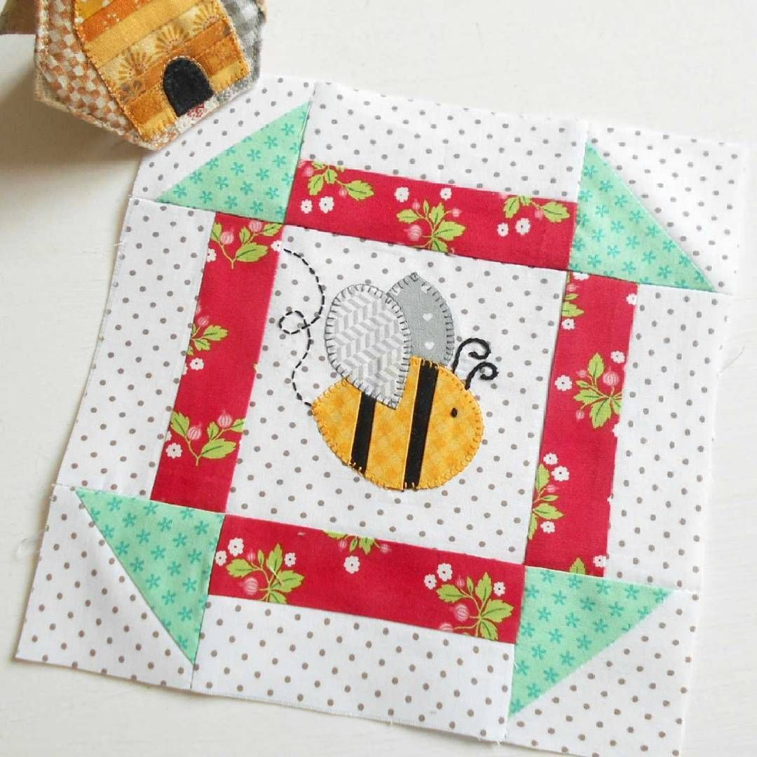 Block 113 - Bee Happy Bee.  I stitched up a swarm of bees  ready for the sew-along.
