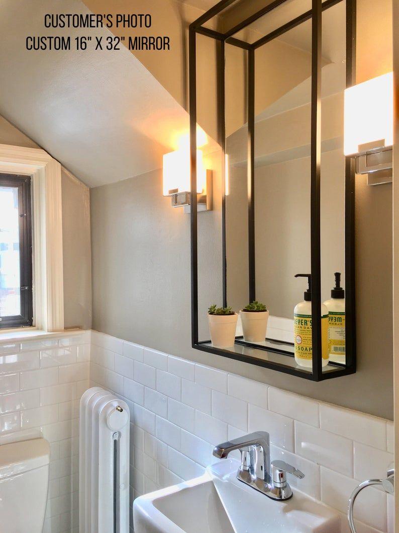 Bathroom Shelf Mirror Modern Industrial Black Steel Metal Framed Bathroom Mirror With Shelf Custom Handmade To Order In 2020 Bathroom Mirror With Shelf Framed Bathroom Mirror Bathroom Mirror