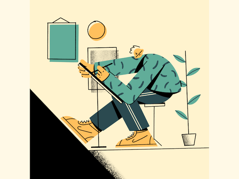 Working Remotely Illustration, Remote work, Psychedelic