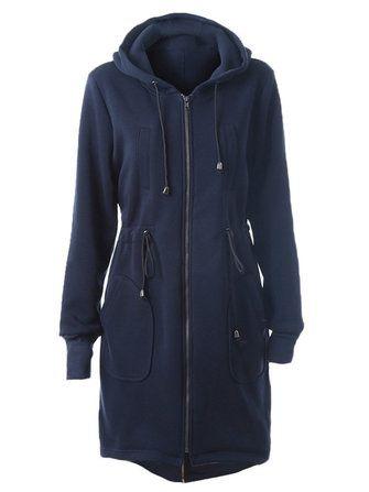 Casual Women Pure Color Zipper Drawstring Pocket Hooded Coat