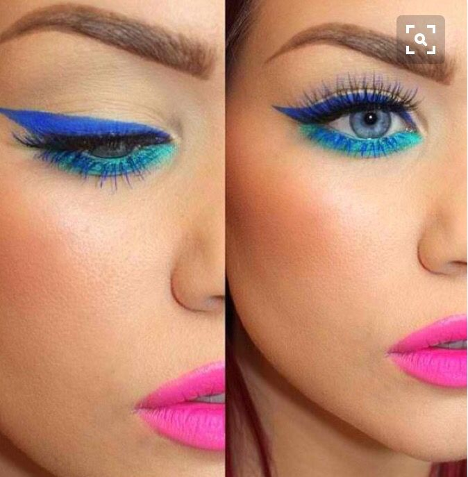 Neon Festival Make Up Barbie Make Up Blaue Augen
