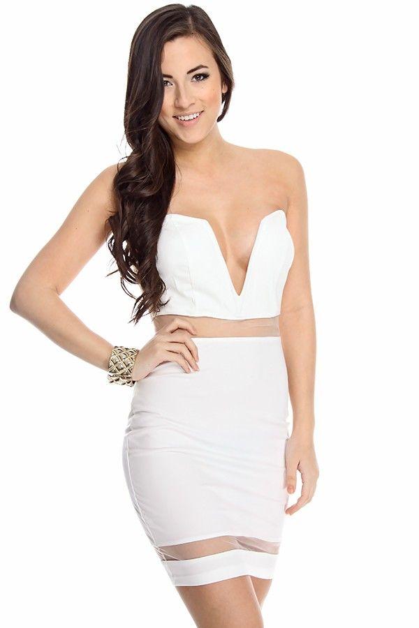 09b68db841 little white dress sexy dress strapless dress mesh dress sexy mini dress  sexy party dress sexy white dress