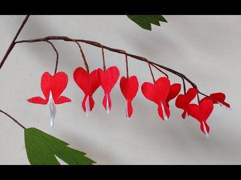 How To Make Paper Flowers Bleeding Heart Dicentra Flower 190 Youtube Paper Flowers Diy Paper Flowers Paper Flower Art