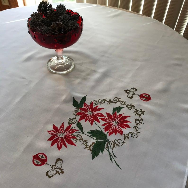 Vintage Square Christmas Poinsettia Tablecloth Card Table Etsy