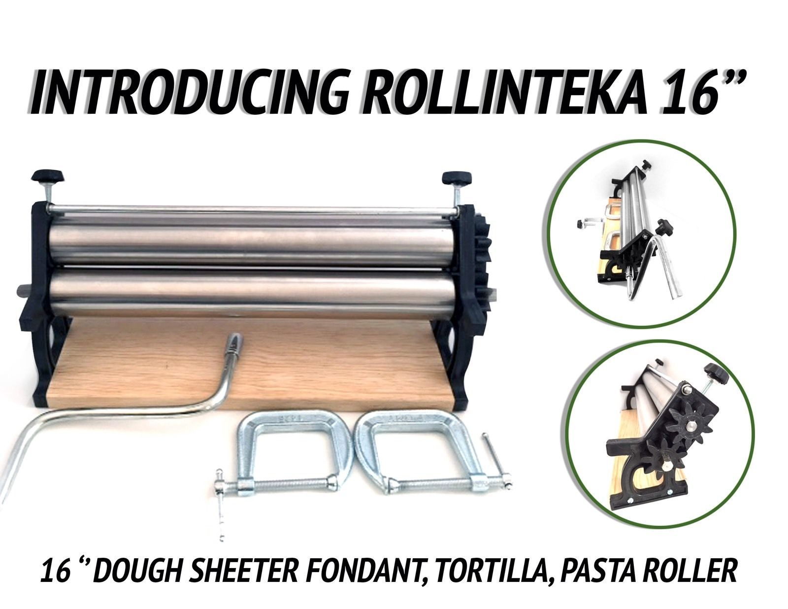 16 Dough Sheeter Pizza Fondant Tortilla Pasta Roller Pasta