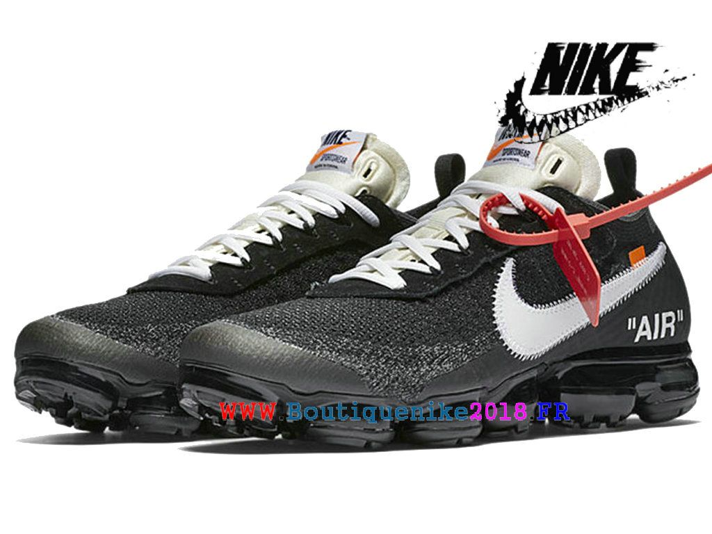 super popular 49517 45f14 Off-White X 2018 Nike Air VaporMax Prix Chaussure de BasketBall Pas Cher  Pour Homme Noir Blanc AA3831-001