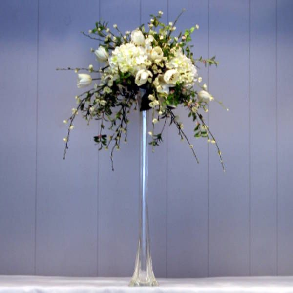 Example Of High Arrangement With Eiffel Vase Tall Vase Wedding Centerpieces Tall Wedding Centerpieces Eiffel Tower Vases