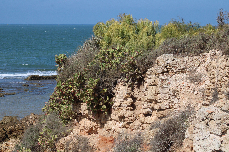 paisajes de la playa desde las ruinas del fuerte de santa catalina, en El Puerto de Santa Maria