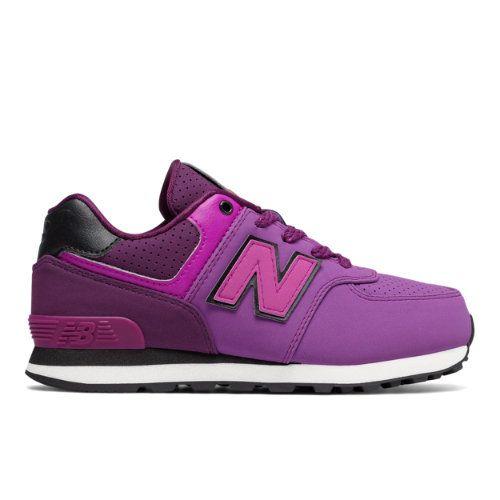 574 New Balance Kids Girls Grade School Lifestyle Shoes - Purple/Black  (KL574YEG)