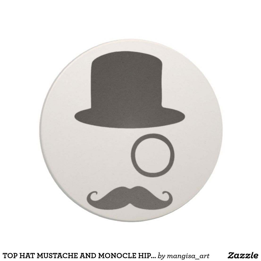 TOP HAT MUSTACHE AND MONOCLE HIPSTER STONE COASTER