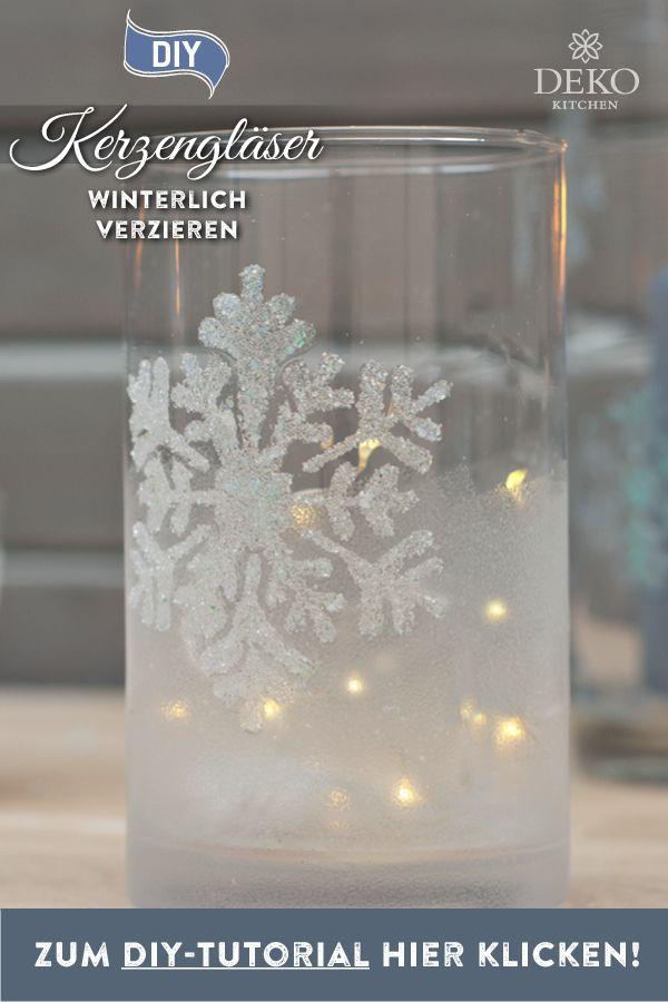 DIY: winterlich funkelnde Kerzengläser selbermachen #weihnachtsdekoglas