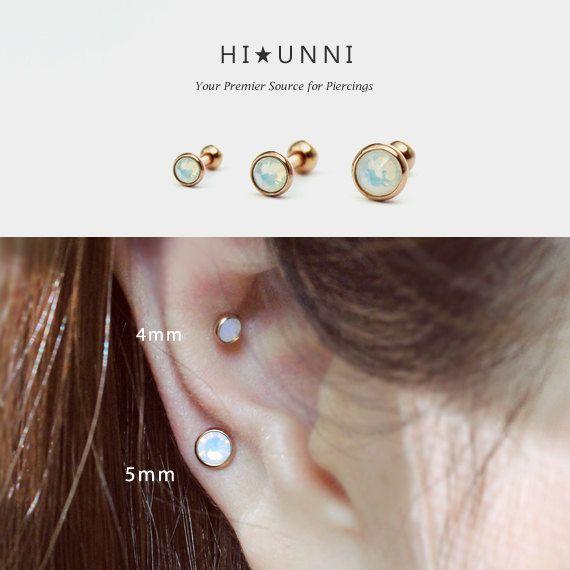 7a01b70f5 16g Triple Opal ear cartilage stud earring, rose gold IP over 316L surgical  steel, tragus conch helix lobe piercing barbell / Single earring