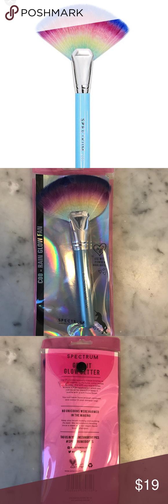 Spectrum Jumbo Rain Glow Fan Brush Vegan Brand new