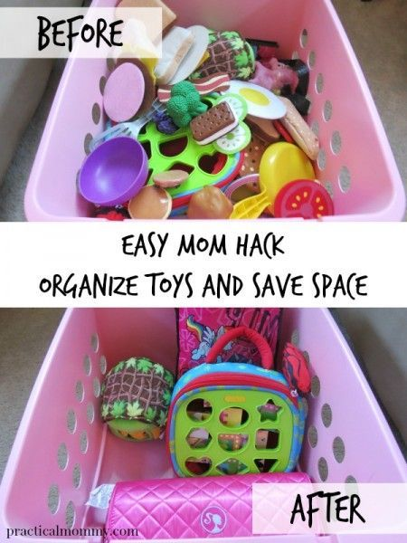 Easy Mom Hack To Organize Toys And Save Space - Here is one quick and easy hack that will save you time and space when cleaning up your kids toys.
