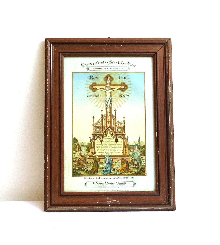 1913s Large Vintage German Antique Color Print Picture Under Glass Mission Religious Wall Decor Lithographs Wooden