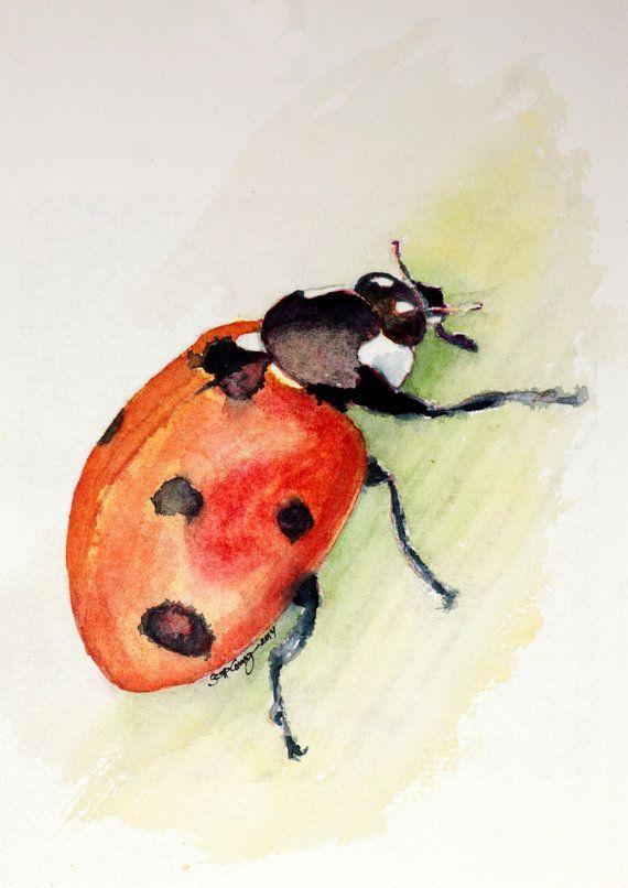 Marienkäfer-Käfer-Insekten-Aquarell-Malerei-Kinderzimmer-Kunst-Originalvorlage-helle rote Wanze #kinderzimmerkunst