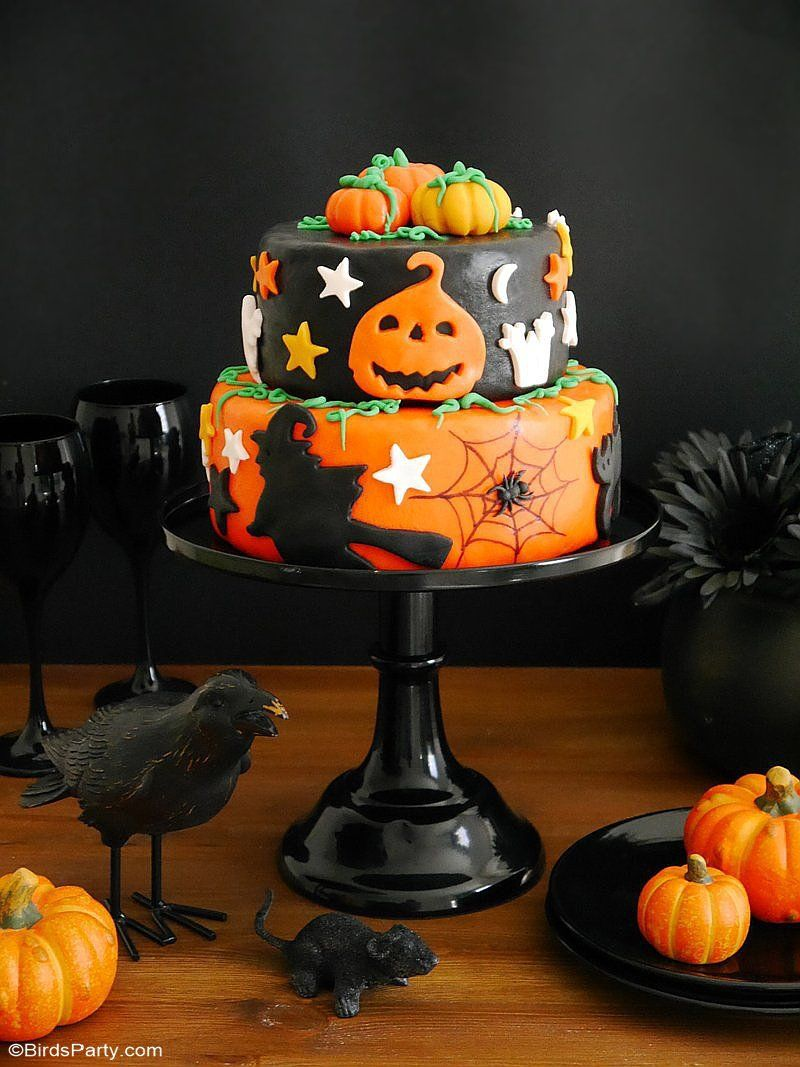 A Super Easy Two-Tier Halloween Cake