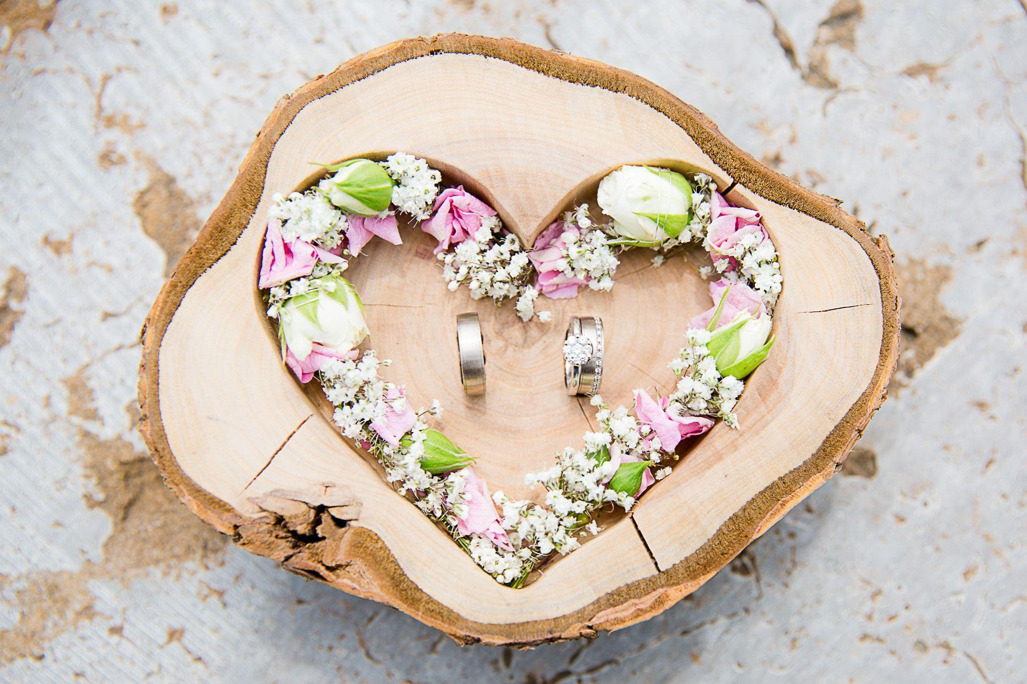 Hochzeit Ringkissen Ringhalter Herz Mille Fleurs Holzherz Fur