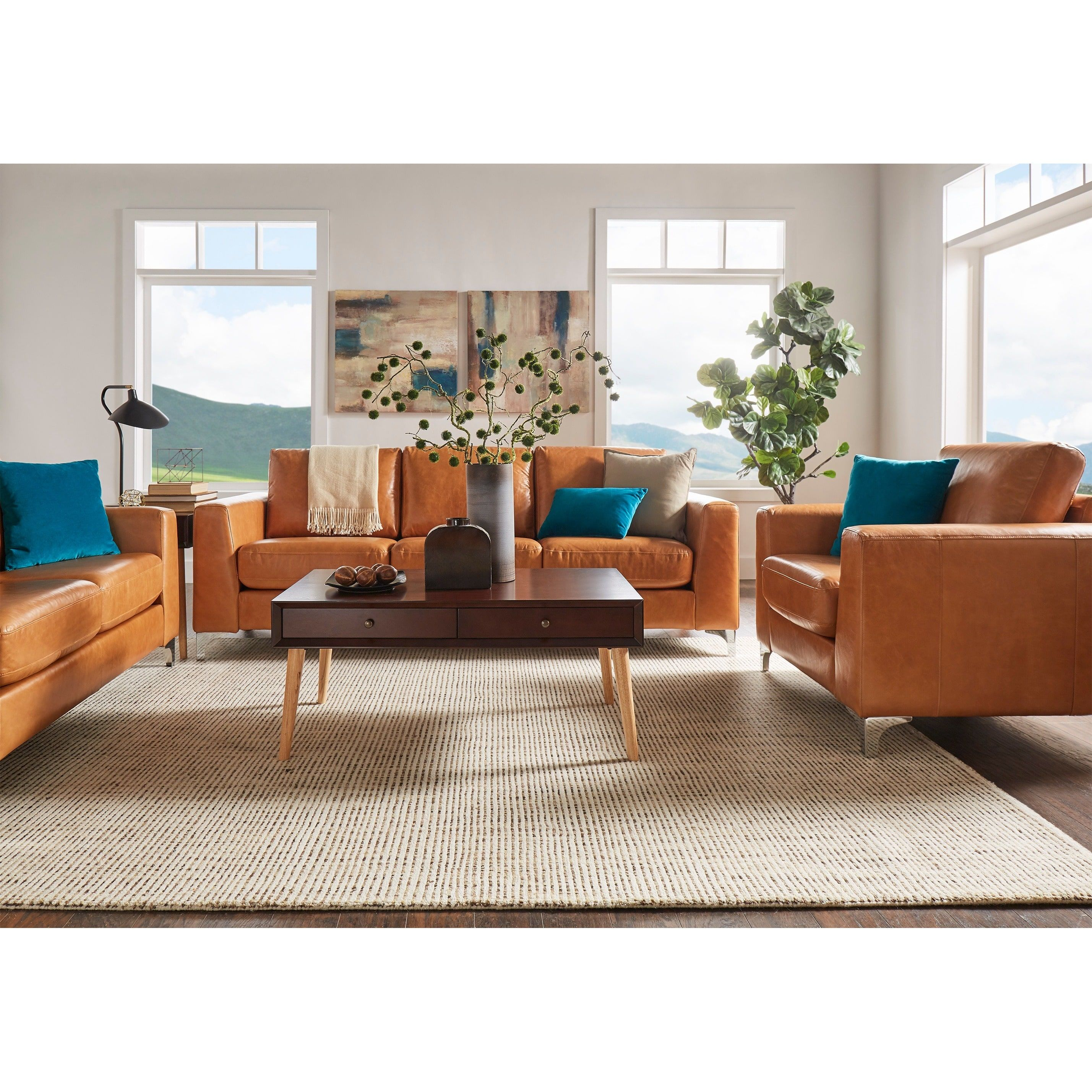 Bastian Aniline Leather Caramel Brown Sofa iNSPIRE Q Modern by iNSPIRE Q