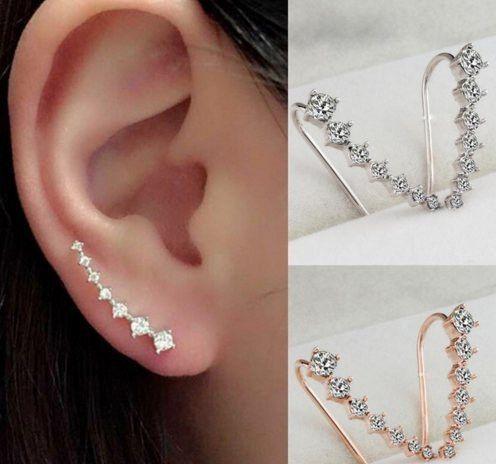 GOLD & SILVER RHINESTONE CRYSTAL PIERCING EARRINGS