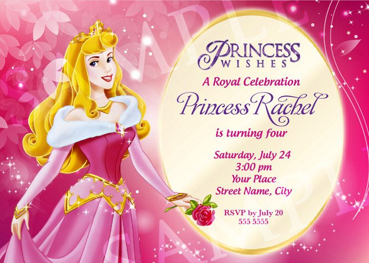 pin by llitastar on princesa aurora | pinterest, Birthday invitations