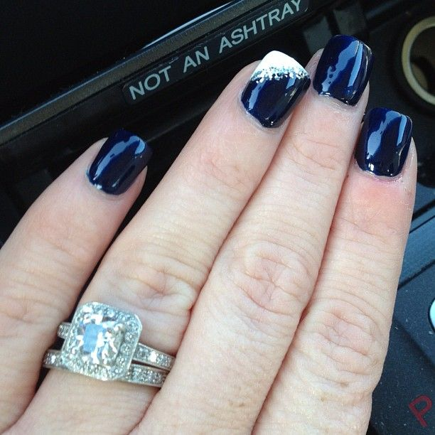 I love the color! :) | nails | Pinterest | Dark blue nails, Blue ...