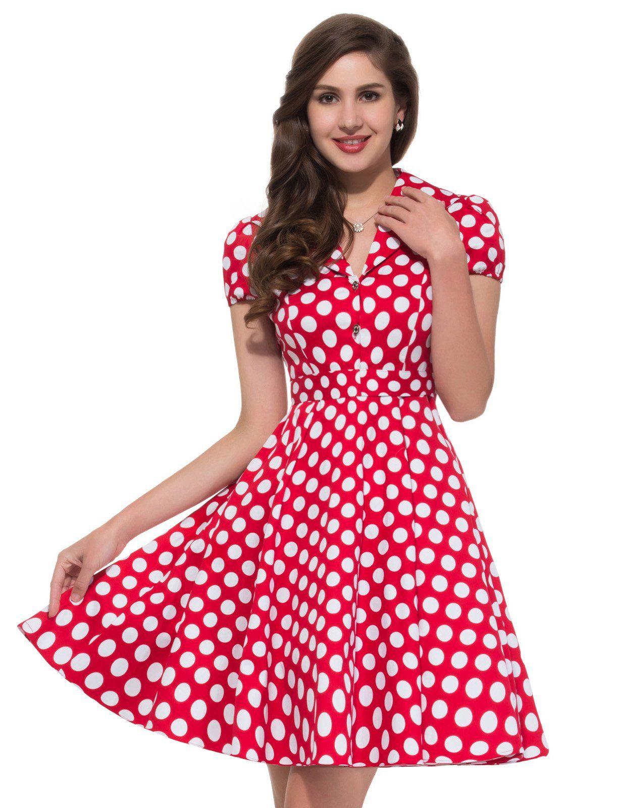 Grace Karin Womens Short Sleeve Polka Dots Vintage Dress Red(L ...