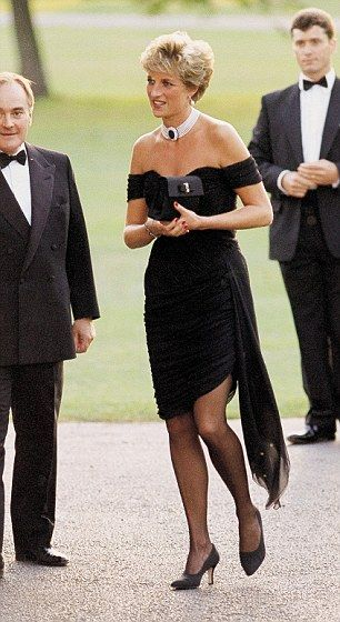 Smiling broadly, Princess Diana-her Valentino dress set off by a pearl and ruby choker as she arrived at the Serpentine Gallery, Kensington Gardens, yards from her home in Kensington Palace.
