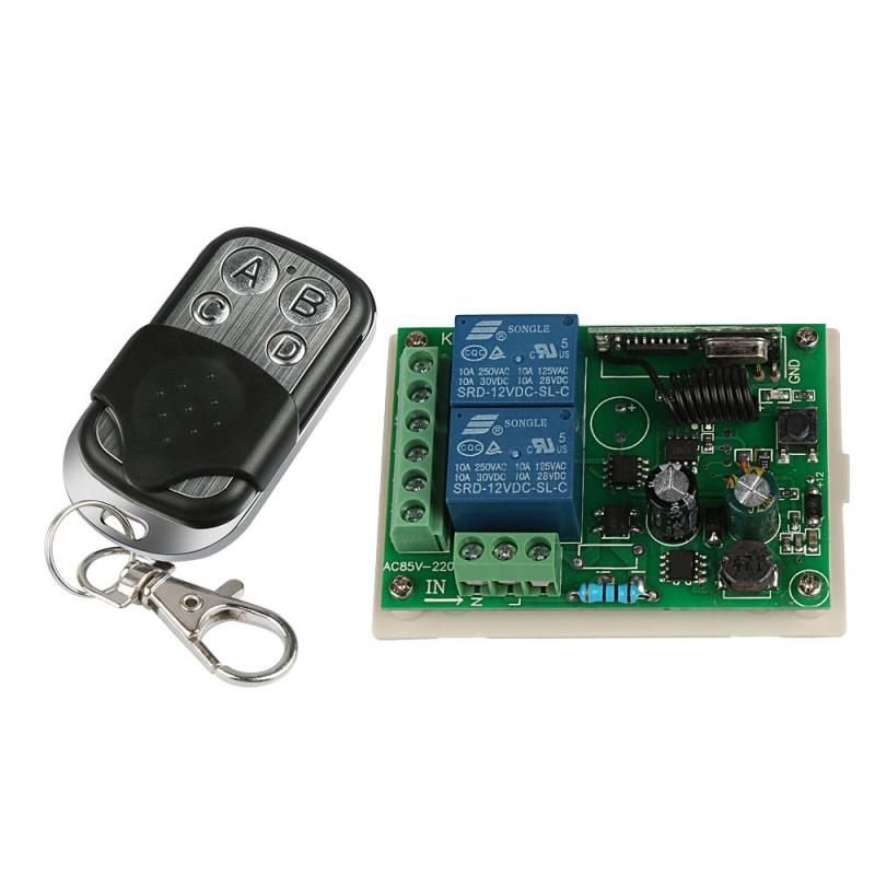 Universal 433mhz Rf 4ch Remote Control Learning Code Transmitter With 2ch Relay Receiver Remote Control Light Electronic Accessories Garage Door Opener Remote