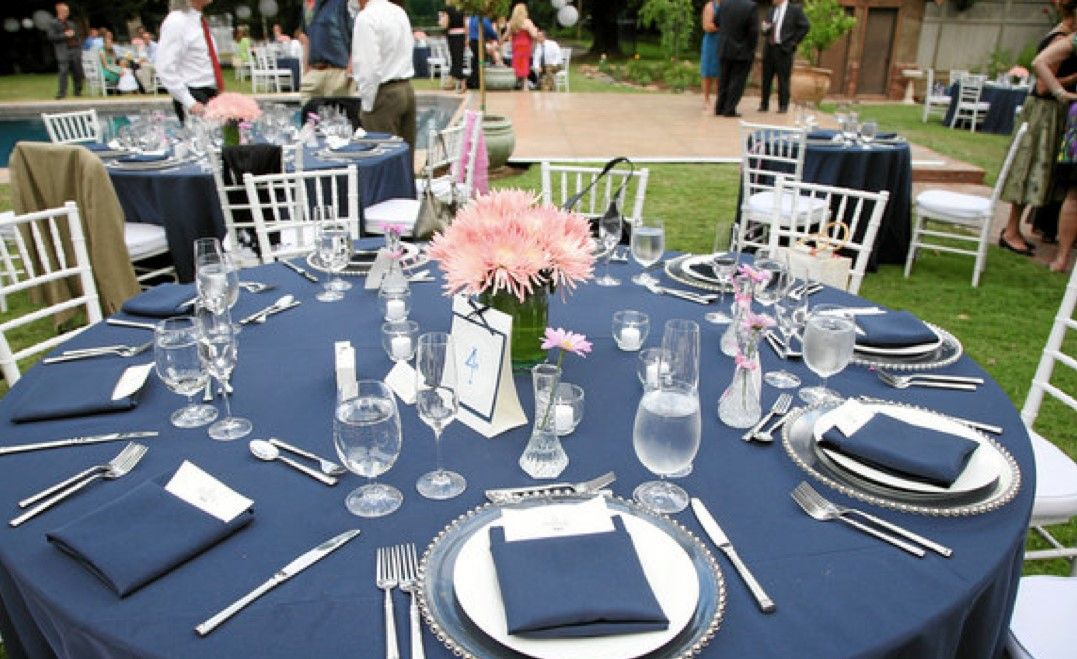 Navy Blue And Coral Outdoor Wedding Reception Summer Wedding
