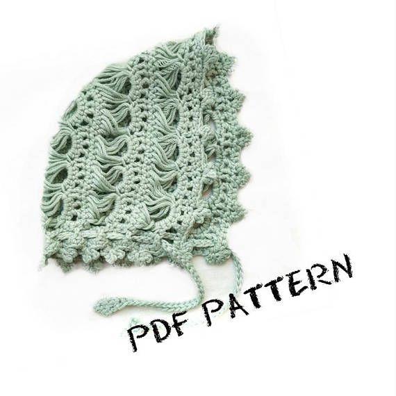 PDF Crochet Pattern Broomstick Lace Baby Bonnet Vintage Retro ...