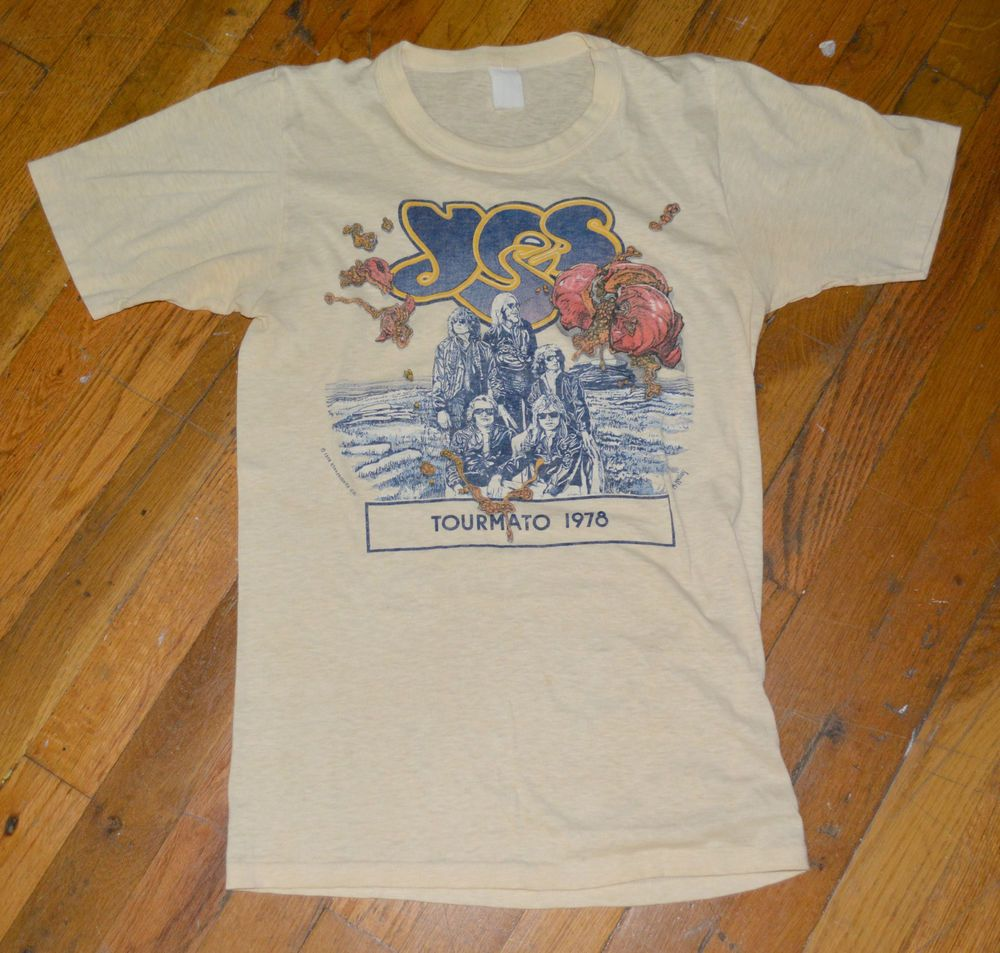 Rare 1978 Yes Vintage Rock Band Concert Tour T Shirt S M 70s Jon Anderson Unknownfaded Graphictee Tour T Shirts Shirts Ladies Tee Shirts