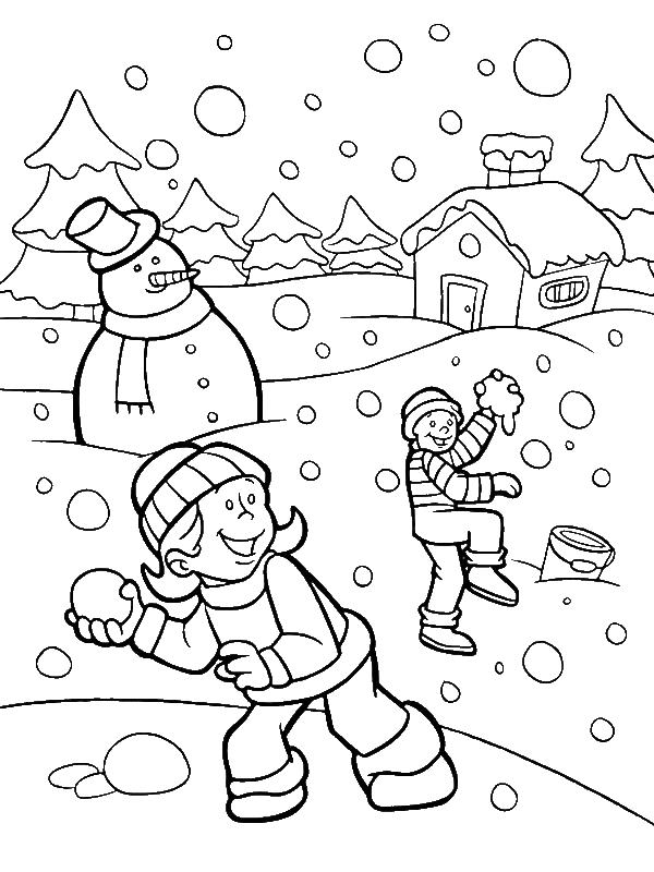 Funny Snownall Fights During Heavy Snow On Winter Coloring Page Download Print Online Colo Coloring Pages Winter Snowman Coloring Pages Cool Coloring Pages