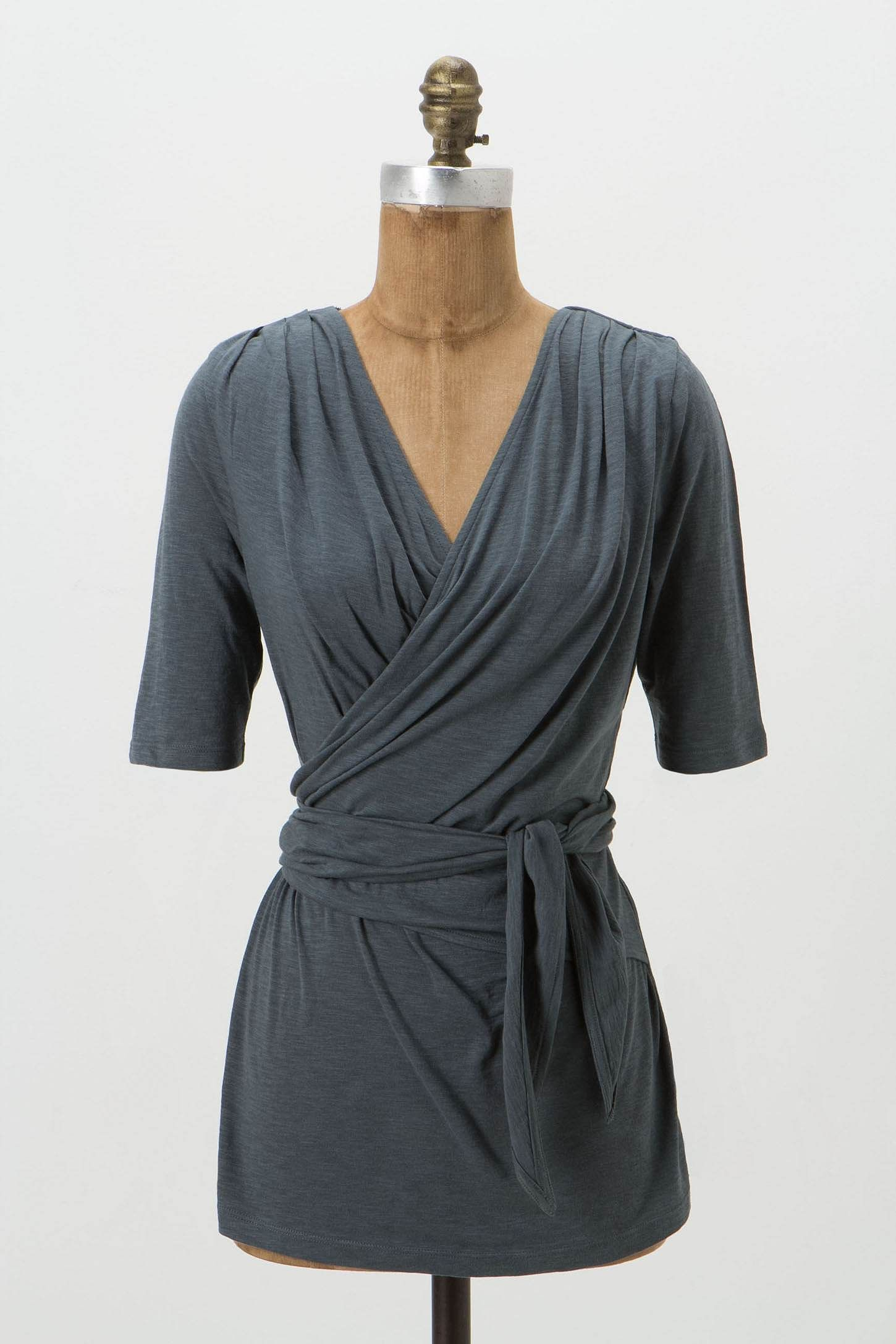 Eliora Top from Anthropologie. I think this would be perfect for a T2. ~agreed, love the uneven gathering effect