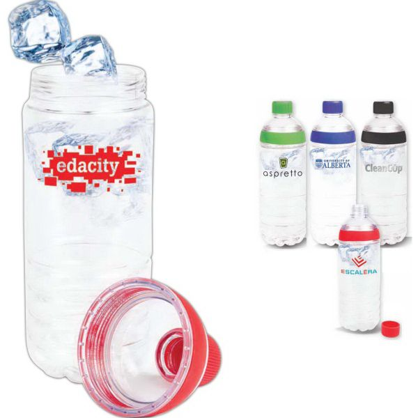 """The Double Twist, 20 oz. Clear Tritan water bottle. Easy twist off color accent cap. Leak-proof, twist-off body with silicone accent. Easy to clean, easy to add ice. BPA free. 2 15/16"""" x 9 1/4""""."""