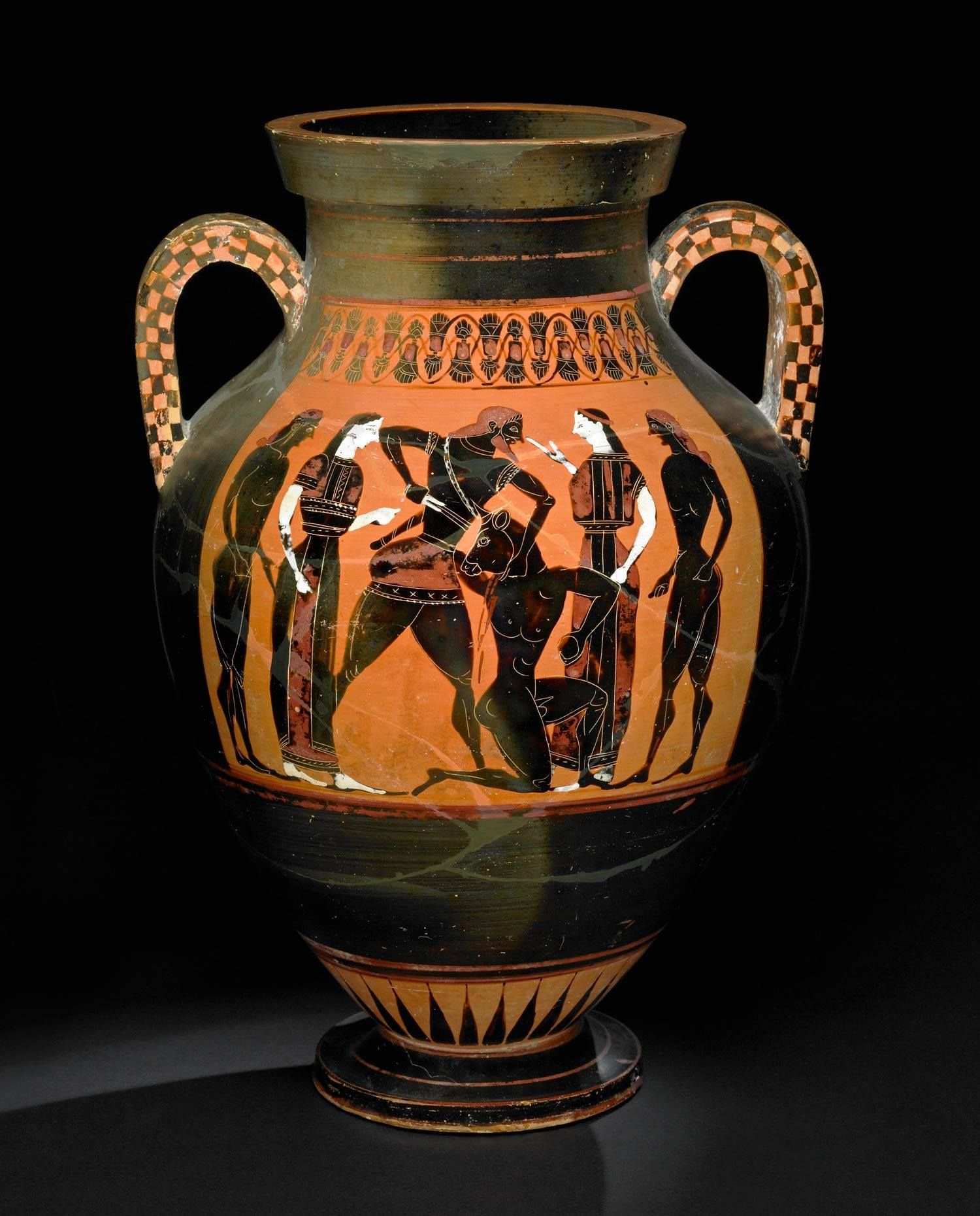Amphora depicting the contest of Theseus and the Minotaur from around 550 BC