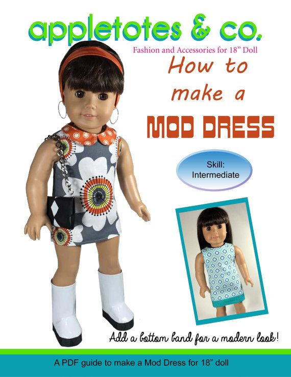 Mod or Modern Dress for 18 inch Doll Pattern American Girl Our ...