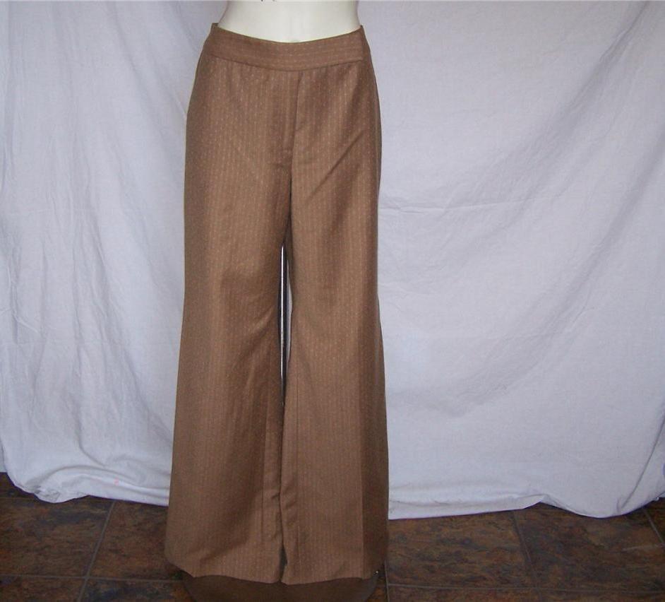 ANN TAYLOR Sz 8 Dress Pants Lined Wool Blend Brown Wide Leg 31 x 32 NWT #AnnTaylor #DressPants