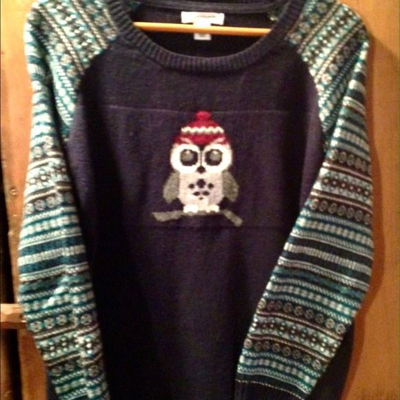 Winter Owl Pullover Sweater Warm and adorable! Perfect for winter. 52% cotton, 40% nylon, 7% acrylic, 1% wool. Worn once - sleeves are a bit too long for me. Sweaters