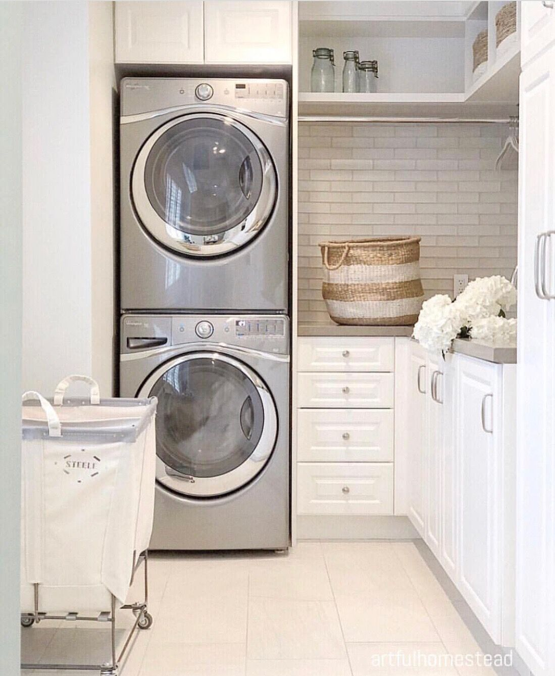 Laundry Room With Stacked Washer