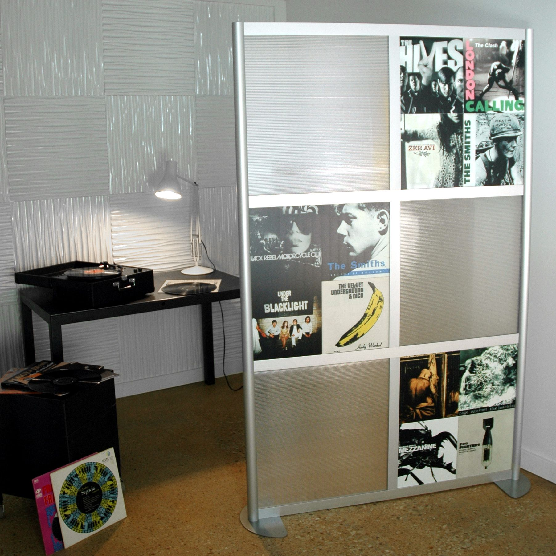 Album cover art room divider. This would work perfectly