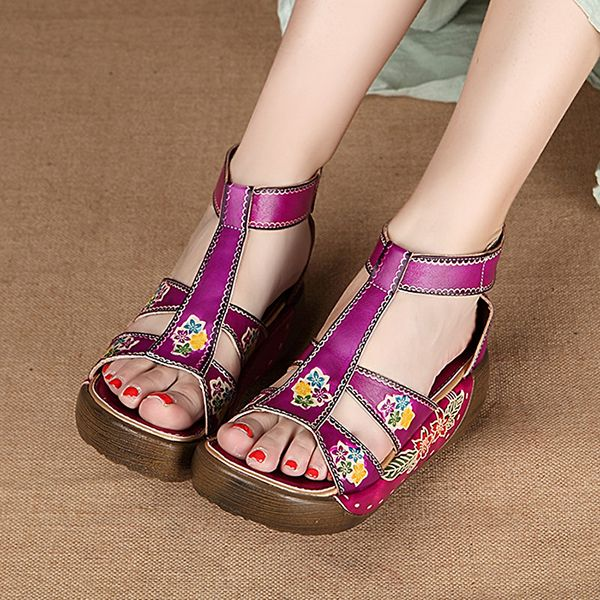 SOCOFY Hollow Out Open Toe Platform Folkways Vintage Sandals is comfortable  to wear. Shop on NewChic to see other cheap women sandals on sale.