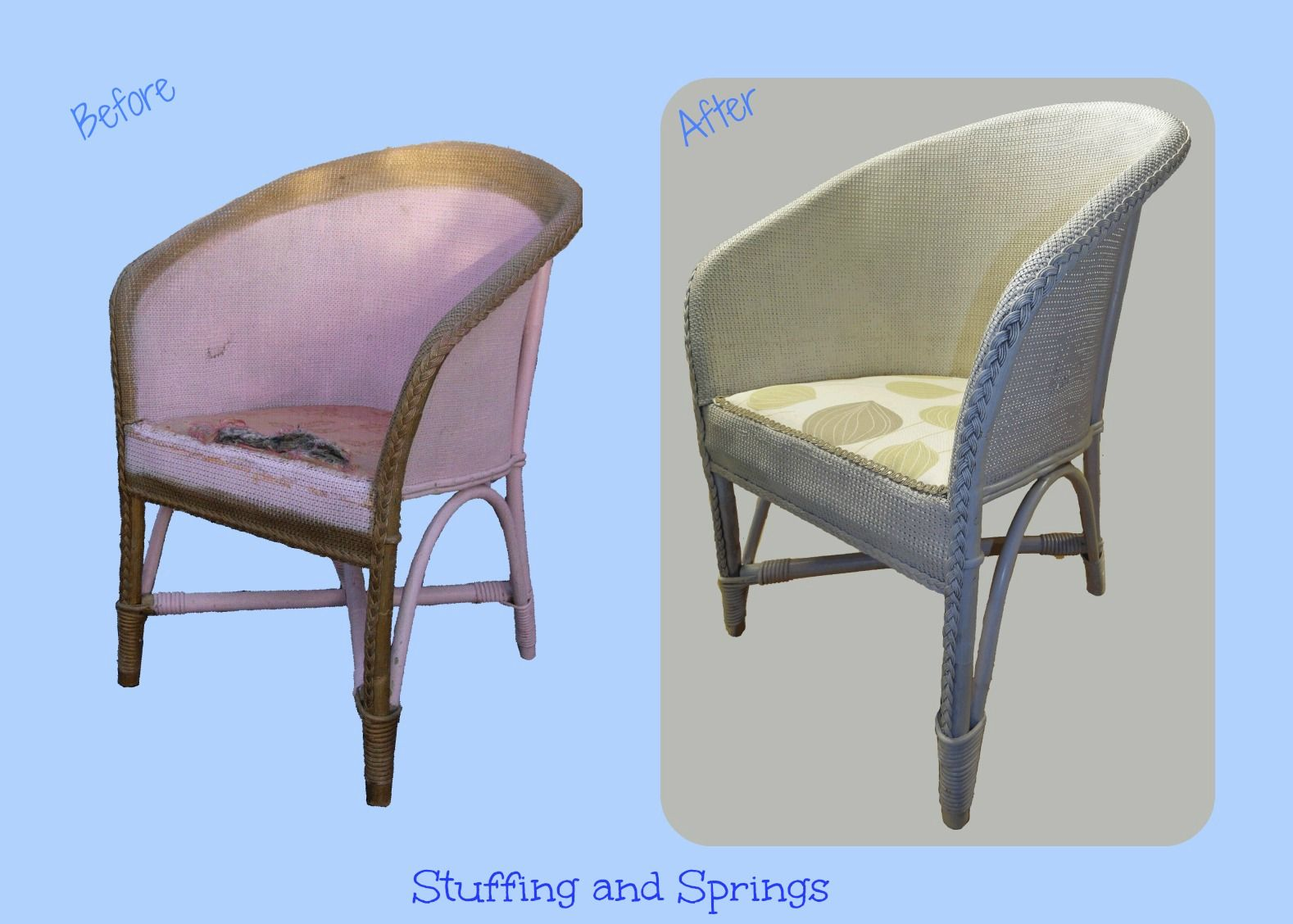 Lovely Lloyd Loom Style Chair Repainted, Reupholstered U0026 Recovered. Re Upholstered  Furniture By Stuffing