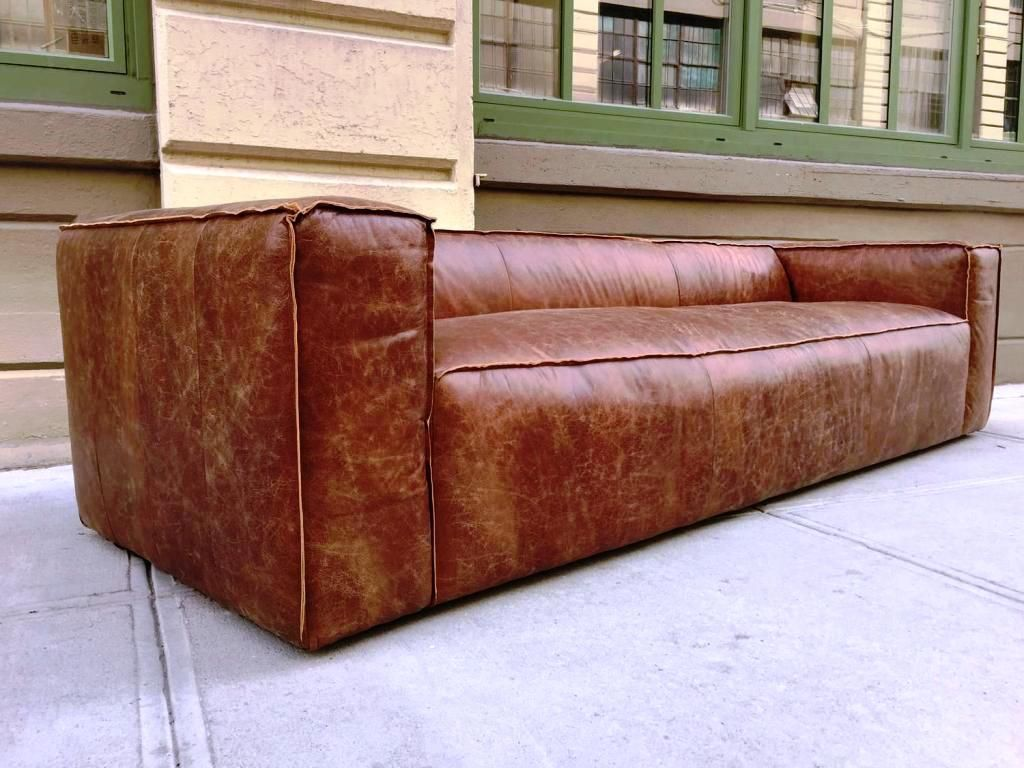 Easy To Care A Distressed Leather Sofa