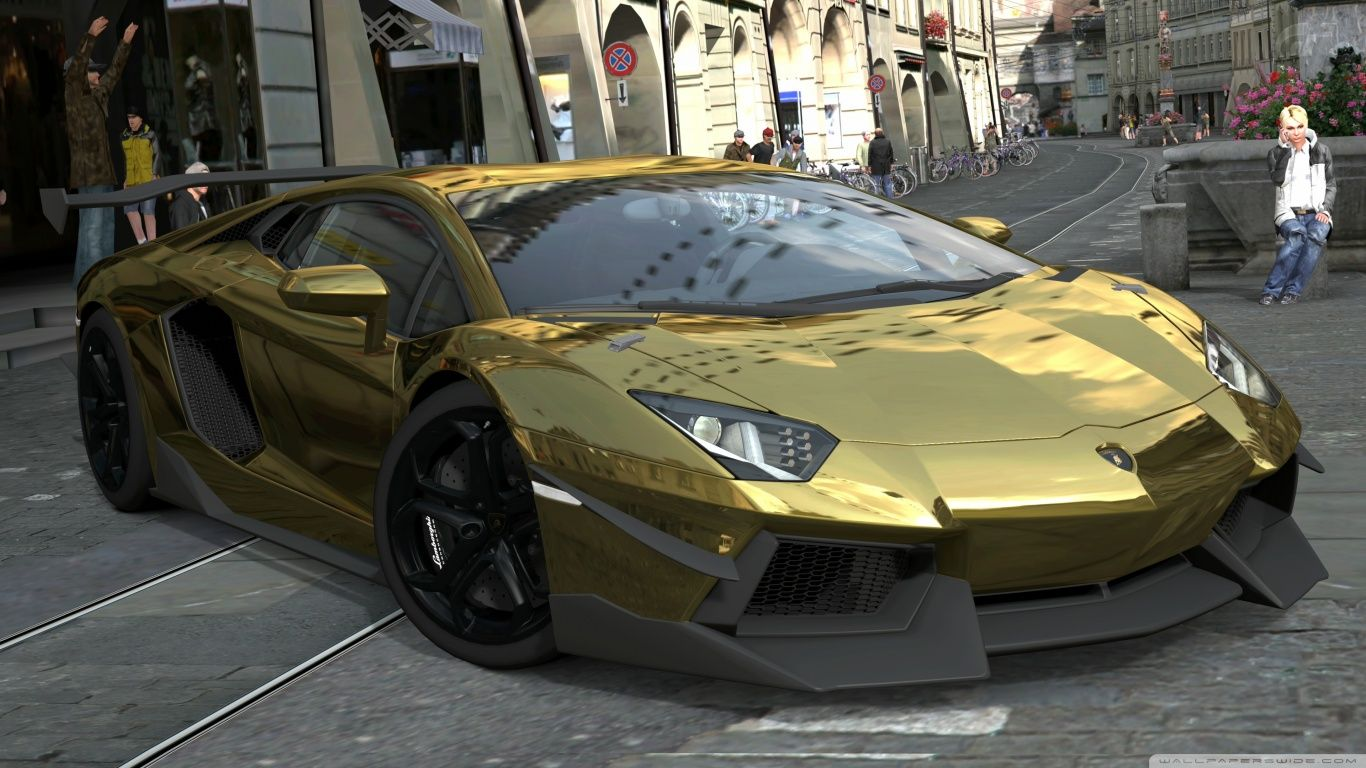 Download Lamborghini Aventador Lp700 4 Gold Chrome Wallpaper