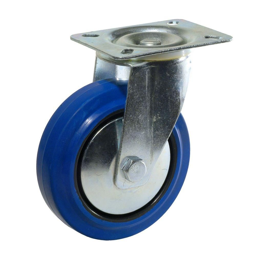 Richelieu Hardware 4 In Heavy Duty Blue Elastic Rubber Swivel Caster F08335 The Home Depot Swivel Casters Elastic Rubber Swivel