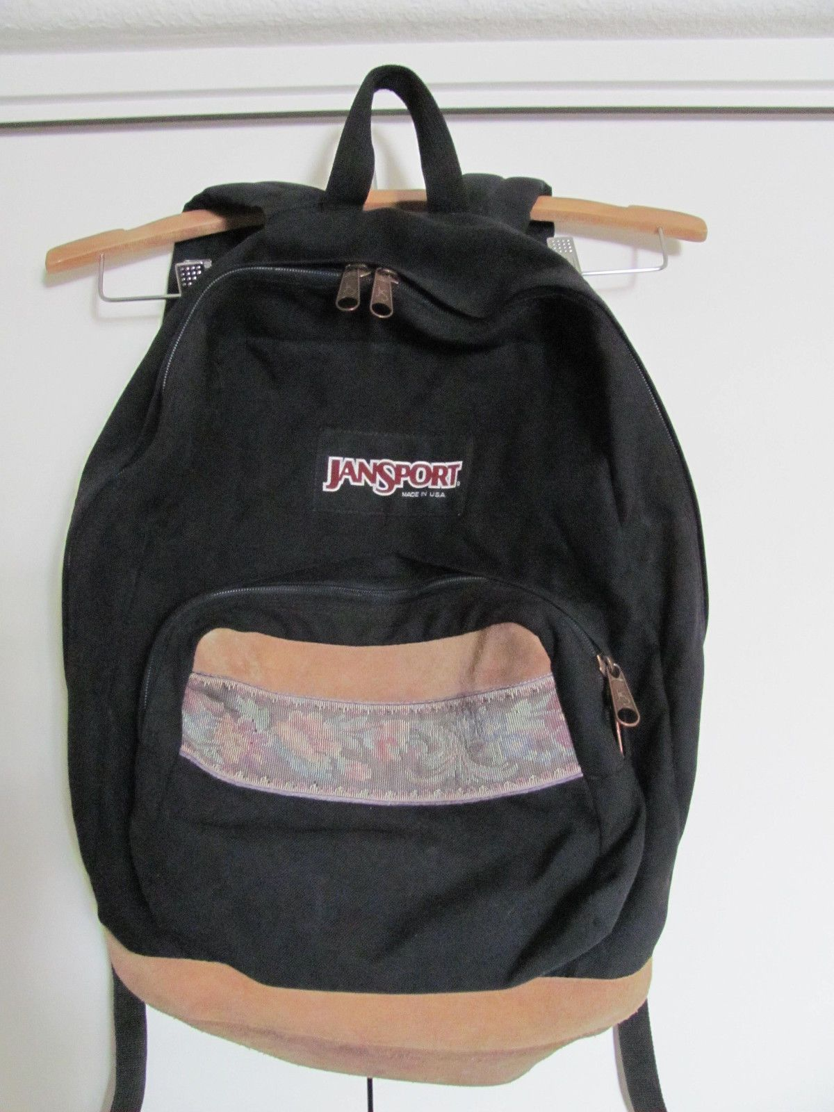 Vintage USA Jansport Backpack Rucksack Black Canvas Floral