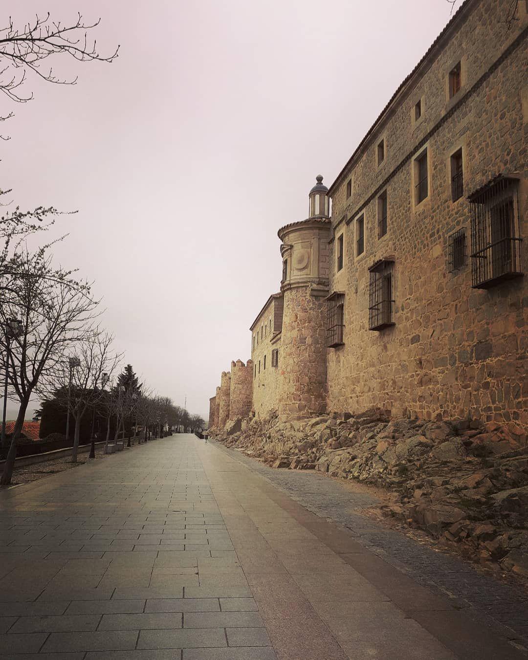 #avila #piedra #nublado #rosesky #stone #raining #lluviafina #plomo #cielorosa #medieval #road #camino