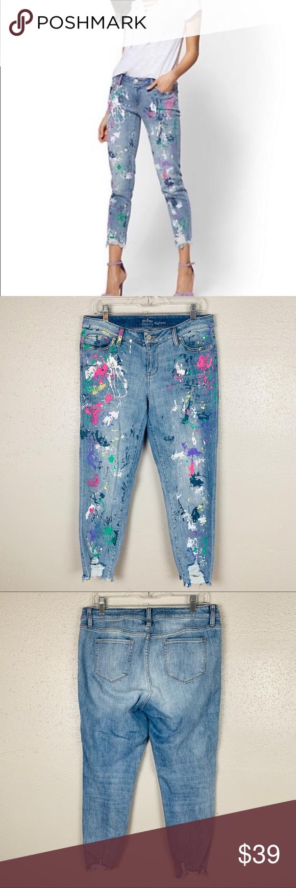 Pilcro Mid-Rise Paint Splattered Slim Boyfriend Jeans